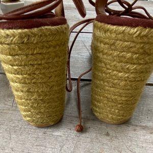 Gianni Bini Shoes - Gianni Bini Brown Leather lace up wedges